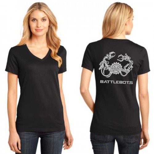 2018 Ladies Metallic V-Neck (Black)